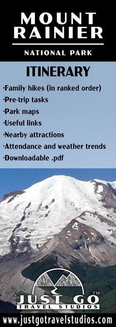 Learn about the best family hikes, what to do before your trip, attendance and what to expect when you get to Mount Rainier National Park! Mt Rainier National Park, Us National Parks, Park Service, Travel Planner, Plan Your Trip, Hiking Trails, Pacific Northwest, Mount Rainier, Attendance