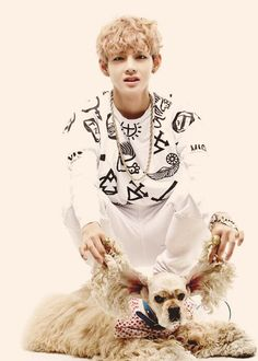 |BTS| Bangtan Boys - V (Kim Taehyung) - When taking photos with dogs most stars choose to act cute with the dog and hug it or something. But then there's Taehyung, who can take the most adorable picture with a dog I have ever seen just by lifting it's ears and making a face xD