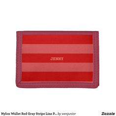Nylon Wallet Red Gray Stripe Line Pattern