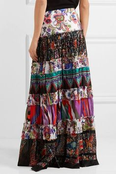 Roberto Cavalli - Tiered Printed Cotton-voile Maxi Skirt - Purple - IT50
