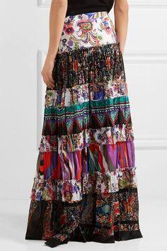 Roberto Cavalli - Tiered Printed Cotton-voile Maxi Skirt - Purple - IT50