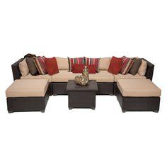 Jicaro 5 Piece Outdoor Wicker Sectional Sofa Set Overstock