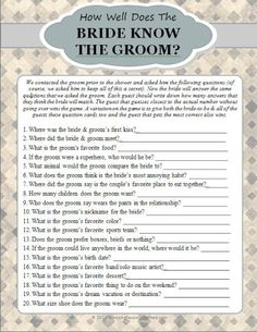 How Well Does The Bride Know The Groom Game (Bride) | Buy at Wedding Favors Unlimited (http://www.weddingfavorsunlimited.com/how_well_does_the_bride_know_the_groom_game.html).