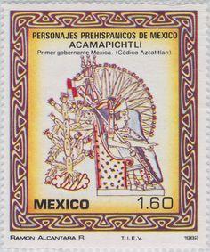 Personajes prehispánicos de Acamapichtli, primer gobernante de los antiguos mexicanos establecidos en Tenochtitlan (Ilustración códice) 1982 México