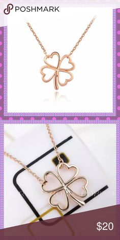 "Rose Gold Four leaf Heart Clover Necklace BEAUTIFUL 18K Rose Gold Four Leaf Heart Pendant Necklace, Approx. 18"" Long Boutique Jewelry Necklaces"