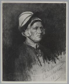 Portret van een vrouw met een muts 1883 Schwartze, Thérèse #NoordHolland
