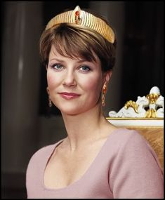Princess Martha Louise in her mother's Modern Gold tiara