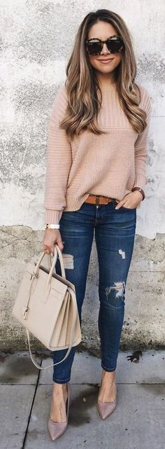 #winter #outfits knitted brown sweater with distressed blue pants