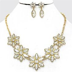 Chunky Flower Charm Gold Chain Earring Necklace Set Fashion Costume Jewelry