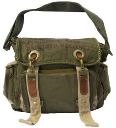 "* Vintage messenger bag for Man and Woman. * Long adjustable strap. * Zipper top closure. * Interior zip, wall and cell phone pockets. * Exterior pocket. * Dimensions: 14"" X 13"" X 4.5"" * Color: Khaki"