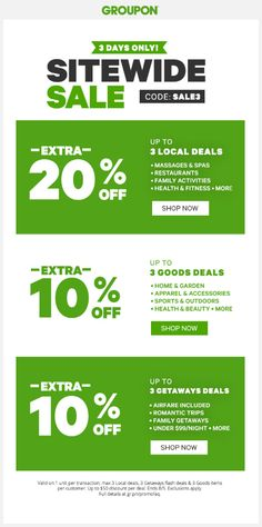#Groupon: Groupon Canada 3-Days Offers: Save 20% Off 3-Local Deals 10% Off 3-Goods Deals & 3-Getaways Deals wi... http://www.lavahotdeals.com/ca/cheap/groupon-canada-3-days-offers-save-20-3/109669