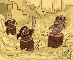 Kili's all 'woohoo!' an Thorin's like 'arrrgh!' an what's Thranduil doin in a barrel? lol