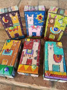 Two Llama Bricks, Garden Bricks, Painted Bricks Painted Bricks Crafts, Brick Crafts, Painted Pavers, Painted Rocks, Hand Painted, 2x4 Crafts, Painted Houses, Clay Crafts, Garden Projects