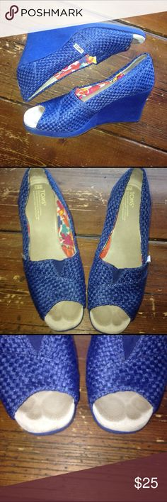 TOMS Blue Woven Wedges 8.5 Great condition. See photos for item details! TOMS Shoes Wedges