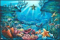 Underwater Drawing Ideas Under The Sea Drawing - Underwater Drawing Ideas Underwater Drawing, Ocean Drawing, Ocean Underwater, Sea Murals, Ocean Mural, Ocean Art, Wall Murals, Under The Sea Drawings, Sea Nursery