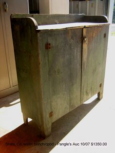 Shenandoah County VA green painted bucket bench cupboard