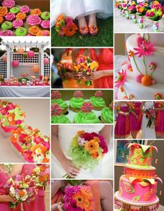 Pink-orange-and-green wedding
