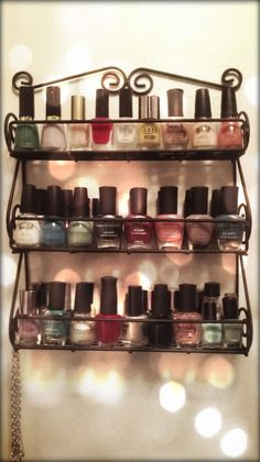 Storing nail polish... Find a thrift store spice rack.