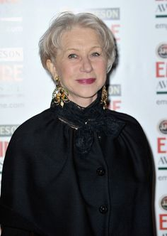 Helen Mirren's Style Evolution.....short hair, big earrings lace wrapped twice and tied around the neck --i like it