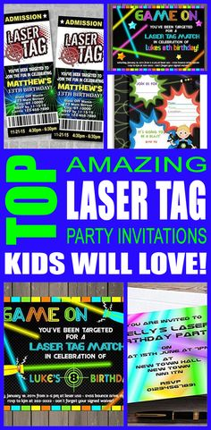 Laser tag party invitations great for boys, girls, teens, tweens & adults. Find cool and fun laser tag party invite ideas for your kids birthday, graduation, Summer and more. Awesome & cool designs! You can also do a DIY, Printable or template invites that are sometimes free. These are fun and a perfect fit for a any laser tag party.