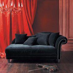 Chaise longue black velvet - atmosphere 1
