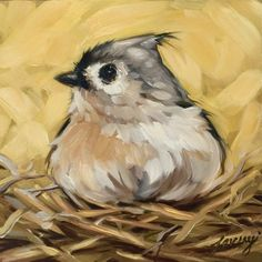 "Tufted Titmouse in nest painting 6x6"" impressionistic original oil painting, Tufted Titmouse painting, bird art, bird paintings by LaveryART on Etsy"