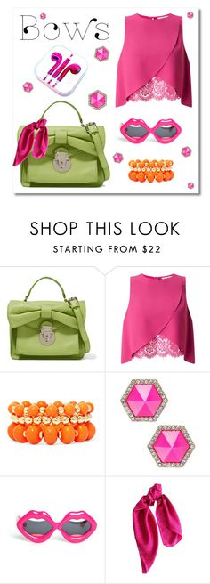 """""""Bow 🎀"""" by andra-andu on Polyvore featuring RED Valentino, Miss Selfridge, Mixit, ABS by Allen Schwartz, Linda Farrow, DKNY and PhunkeeTree"""