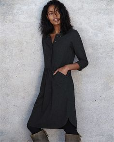Poetry - Cotton and wool shirt dress - In a soft blend of brushed cotton and wool, this lovely dress has a shirt-style collar, buttoned placket and full-length sleeves. The dropped waistline is gathered for a fuller hem, finished with two angled side pockets. 92% cotton 8% wool