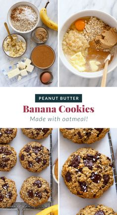 Chewy, delicious Peanut Butter Banana Cookies made with oatmeal and dark chocolate chunks. These peanut butter banana oatmeal cookies are seriously the perfect cookie. Peanut Butter Banana Cookies, Banana Oatmeal Cookies, Banana Chocolate Chip Cookies, Oat Cookies, Peanut Butter Oatmeal, Healthy Sweet Treats, Healthy Cookies, Cookie Recipes, Dessert Recipes