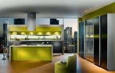 Lime Green Kitchen Cabinet With Recessed Lighting And Adjustable Bar Stools Above Laminate Flooring In Green Apartment Kitchen Ideas