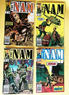 4 THE NAM Marvel Comics VOl 1 NO 35 36 38 39 1989 Original Slipcover Very Good Land Mine, Slipcovers, Marvel Comics, Comic Books, The Originals, Handmade, Art, Art Background, Cases