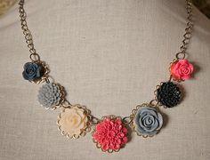 Handmade Resin Flower Necklace Pink Grey Flower by GnidGnadDesigns