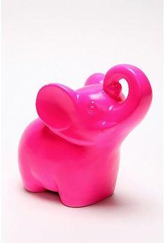 Elephant Bank: Plastic, Pink, Elephant