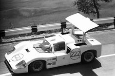 Hap Sharp at the wheel of his 2F during the 1967 Targa Florio. With this race generally dominated by agile, smaller bore sports cars, the Chaparral was proving very competitive until a flat tire sidelined the car. Believed to be a Bernard Cahier photo.