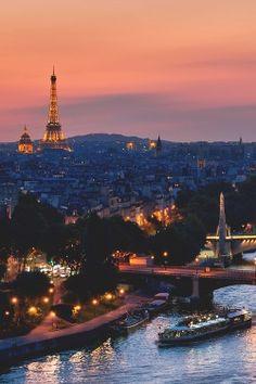 Paris, rive gauche, la Seine et au loin la tour Eiffel Paris France, Oh Paris, Paris Night, Montmartre Paris, Francia Paris, I Love Paris, Paris City, Places Around The World, Oh The Places You'll Go