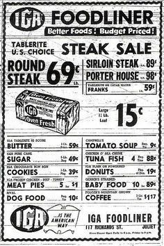 ☜(◕¨◕)☞ Grocery ad from 1947 I could only dream of getting a shopping day like this Old Advertisements, Retro Advertising, Retro Ads, Vintage Ads, Vintage Stuff, Vintage Items, Grocery Ads, Grocery Store, 70th Birthday Parties