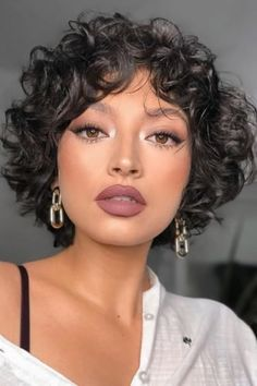 Curly Pixie Haircuts, Curly Hair Cuts, Messy Hairstyles, Wavy Hair, Short Hair Cuts, Curly Hair Styles, Natural Hair Styles, Curly Short Bobs, Curly Hair With Bangs