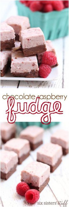 This Chocolate Raspberry Fudge is perfect for Valentine's Day! A yummy treat that's easy to make from Six Sisters' Stuff