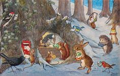 Animal Christmas, Molly Brett illustration