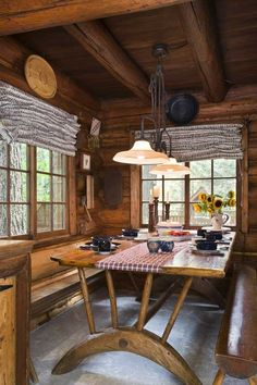 Historic log cabin dining room