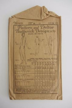 ANTIQUE SEWING PATTERN AND DELTOR BUTTERICK DESIGN 5479 LADIES ONE-PIECE DRESS