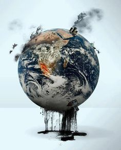 A representation of human impacts on the world including deforestation and fuel combustion