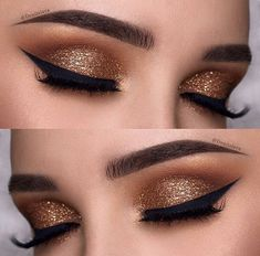45 Glamorous Makeup Ideas for New Year's Eve Dark Gold Eye Makeup Lo. - 45 Glamorous Makeup Ideas for New Year's Eve Dark Gold Eye Makeup Look for New Years Eve - New Year's Makeup, Gold Eye Makeup, Eye Makeup Tips, Smokey Eye Makeup, Beauty Makeup, Makeup Ideas, Makeup Tutorials, Natural Makeup, Gold Eyeshadow Looks