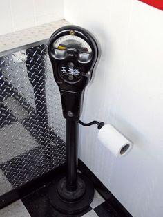 Parking Meter Toilet Paper Dispenser for the man cave Garage Bathroom, Man Cave Bathroom, Budget Bathroom, Bathrooms, Bathroom Goals, Man Cave Garage, Man Cave Basement, Cave Bar, Man Cave Home Bar