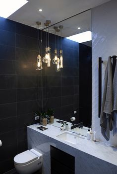 The Block Glasshouse - master bathroom - Michael and Carlene - get the look… Laundry In Bathroom, Master Bathroom, Home Lighting, Pendant Lighting, The Block Glasshouse, Melbourne Apartment, Glass House, Condo, Sweet Home
