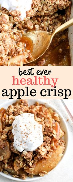 Made with rolled oats and whole wheat flour, this healthy apple crisp is an easy, fall inspired dessert. Ready in just under an hour, this apple crisp is a low-hassle alternative to the traditional apple pie. It's refined sugar free, can be made dairy free, and bursting with fall flavors! #erinliveswhole #fall #thanksgiving #applecrisp