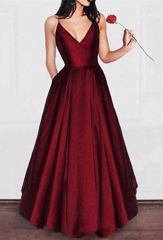 simple satin long burgundy prom dresses with pocket,Dark red spaghetti straps cheap prom party gowns by Miss Zhu Bridal, $119.89 USD