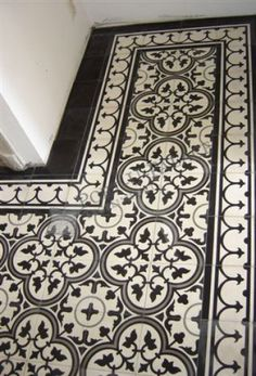 Black and white floor tiles - Portugese tegels by pearlie Border around pattern tile Floor Patterns, Tile Patterns, Pattern Ideas, Stencil Patterns, Deco Design, Tile Design, Floor Design, Kitchen Tiles, Kitchen Flooring