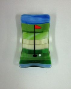 18th Hole Fused Glass Vice Tray by JanuaryMayDesigns on Etsy