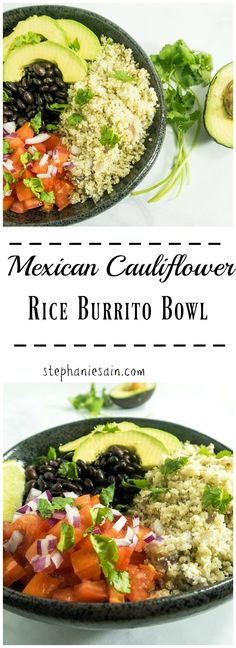 You Have Meals Poisoning More Normally Than You're Thinking That Mexican Cauliflower Rice Burrito Bowl Is A Healthy, Tasty, One Bowl Dinner Or Lunch. Mexican Flavored Cauliflower Rice Topped With Your Favorites. Vegetarian and Gluten Free. Lunch Recipes, Mexican Food Recipes, Whole Food Recipes, Vegetarian Recipes, Cooking Recipes, Healthy Recipes, Zoodle Recipes, Pescatarian Recipes, Keto Recipes